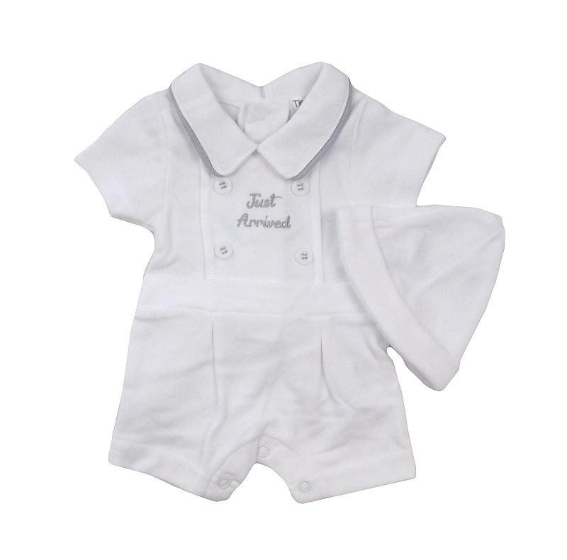 "Tiny Chick PREMATURE: White & Grey ""Just Arrived"" Romper 
