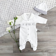 Tiny Chick PREMATURE: White & Grey Smocked Ducks Sleepsuit and Hat | Millie and John