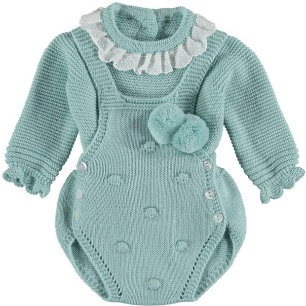 "Juliana ""Ariel"" Duck Egg Knitted Dungaree Set 