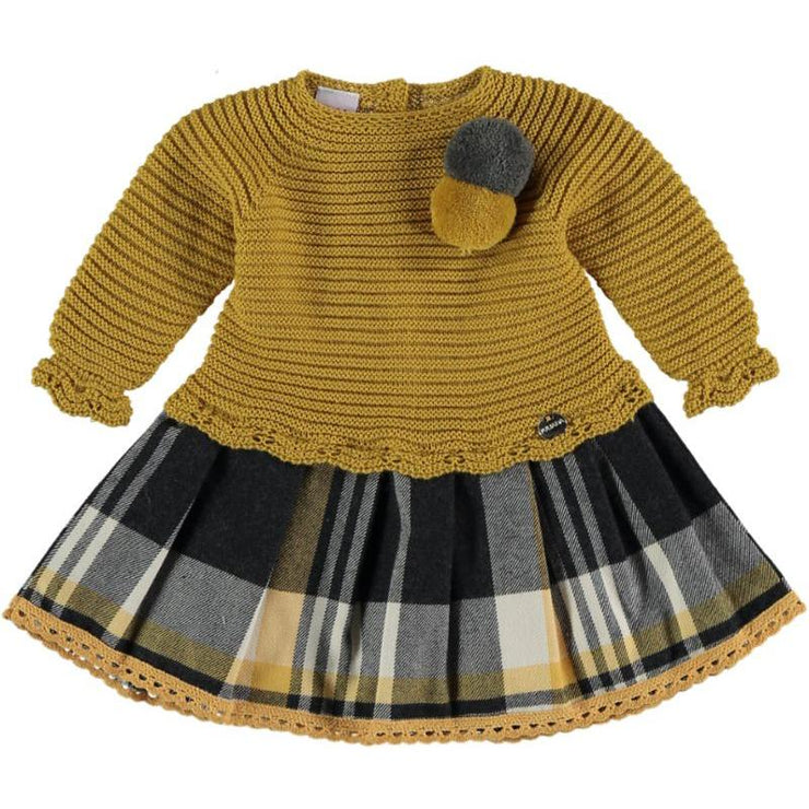 "Juliana ""Feliza"" Mustard Half Knit Tartan Dress 