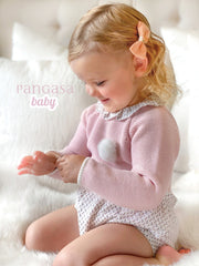 Pangasa Powder Pink Knitted Top & Floral Bloomers | Millie and John