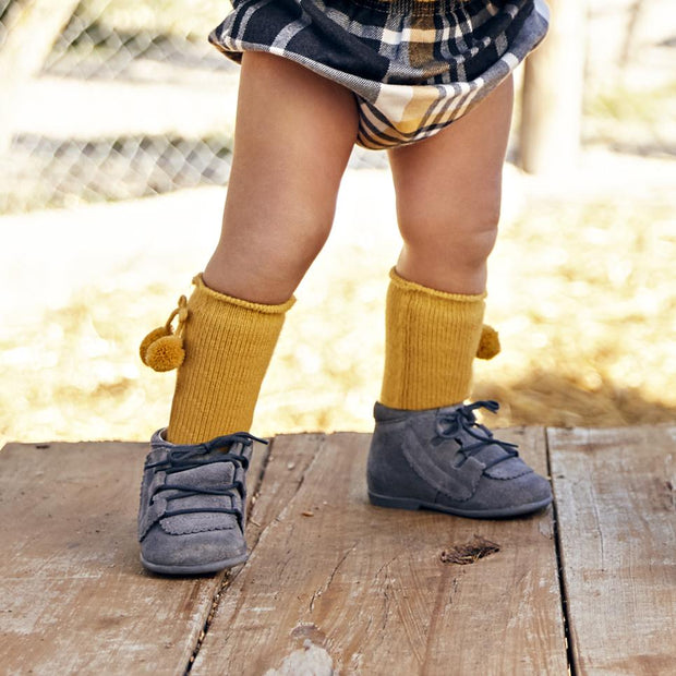 Juliana Mustard Pom Pom Socks | Millie and John