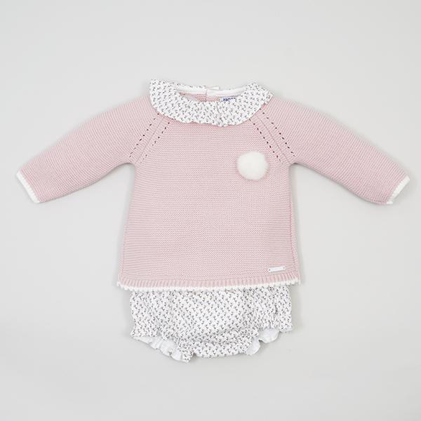 Pangasa PREORDER | Powder Pink Knitted Top & Floral Bloomers | Millie and John