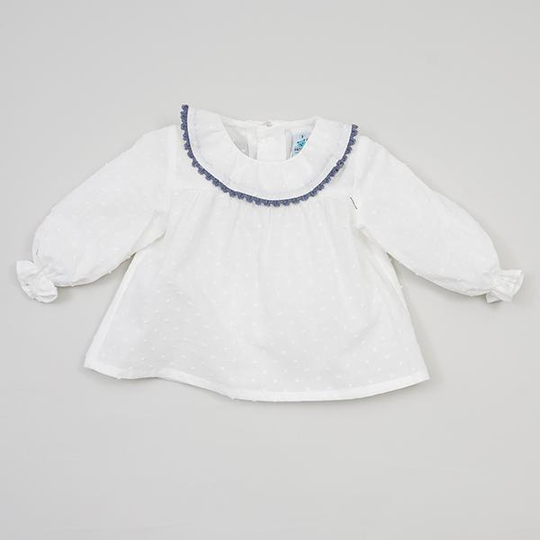 Pangasa Ruffle Collar Plumeti Dot Shirt | Millie and John