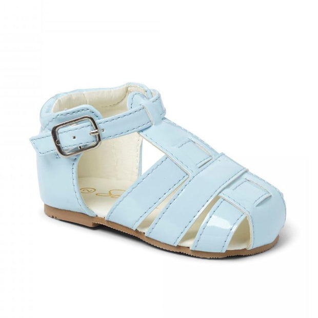 "Sevva ""Ralph"" Sky Blue Patent Hard Sole Sandals 