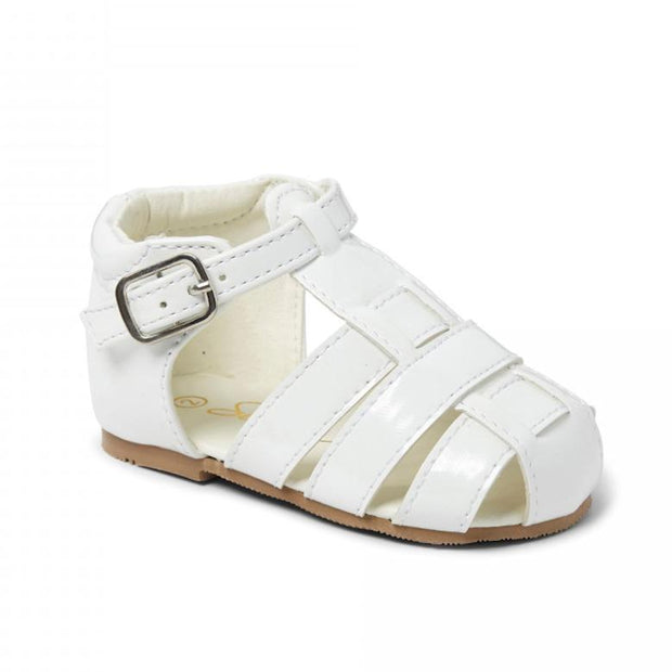 "Sevva ""Ralph"" White Patent Hard Sole Sandals 
