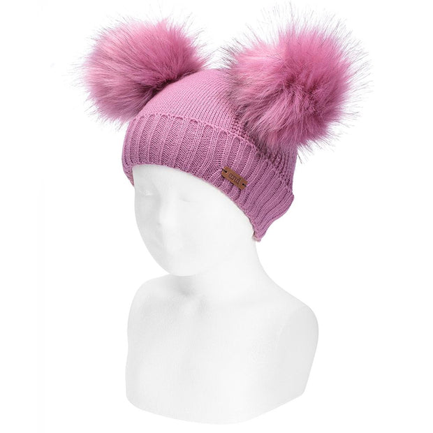 Condor Raspberry Faux Fur Double Pom Pom Hat | Millie and John
