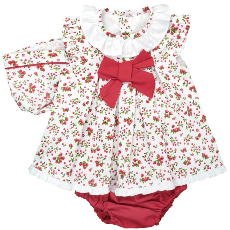 Baby-Ferr Red Berry Print Dress, Knickers & Bonnet | Millie and John