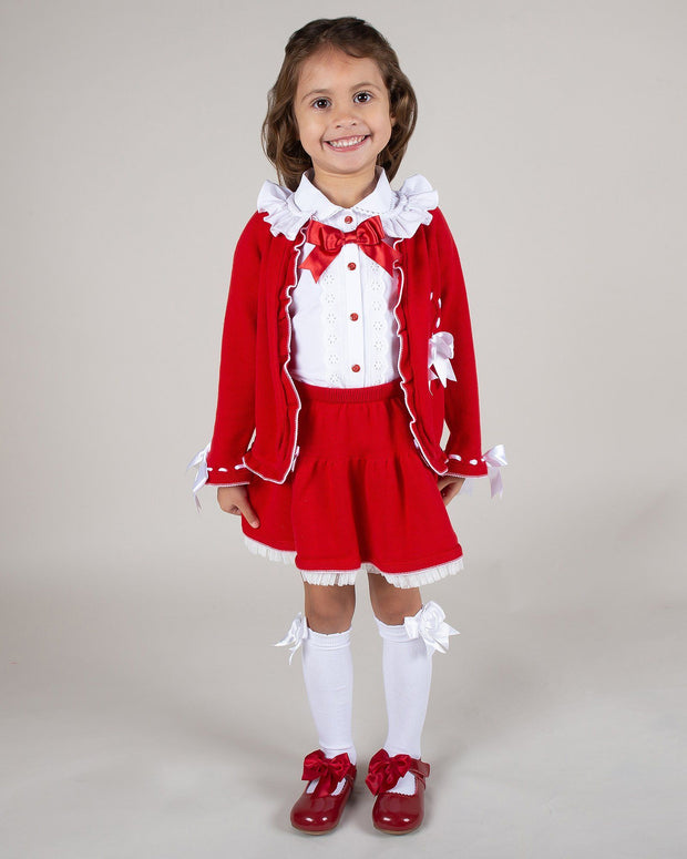 Caramelo Kids Red Cardigan, Skirt & Blouse Set | Millie and John