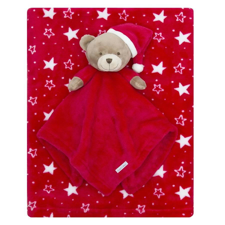 Baby Town Red Christmas Teddy Comforter & Blanket Set | Millie and John
