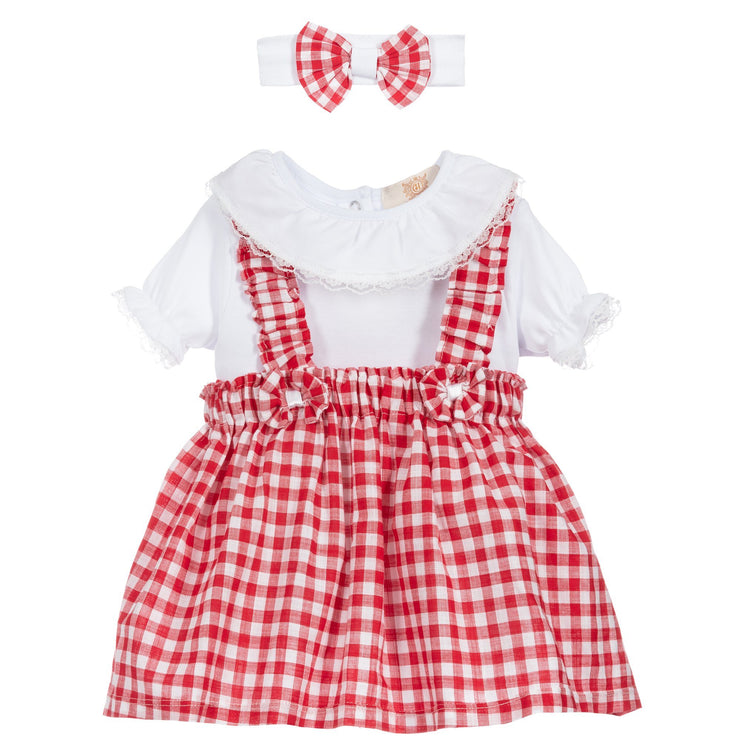Caramelo Kids Red Gingham Pinafore Dress Set | Millie and John