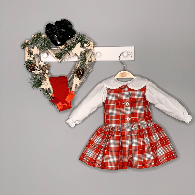 Kinder Boutique Red & Grey Tartan Dress and Blouse | Millie and John