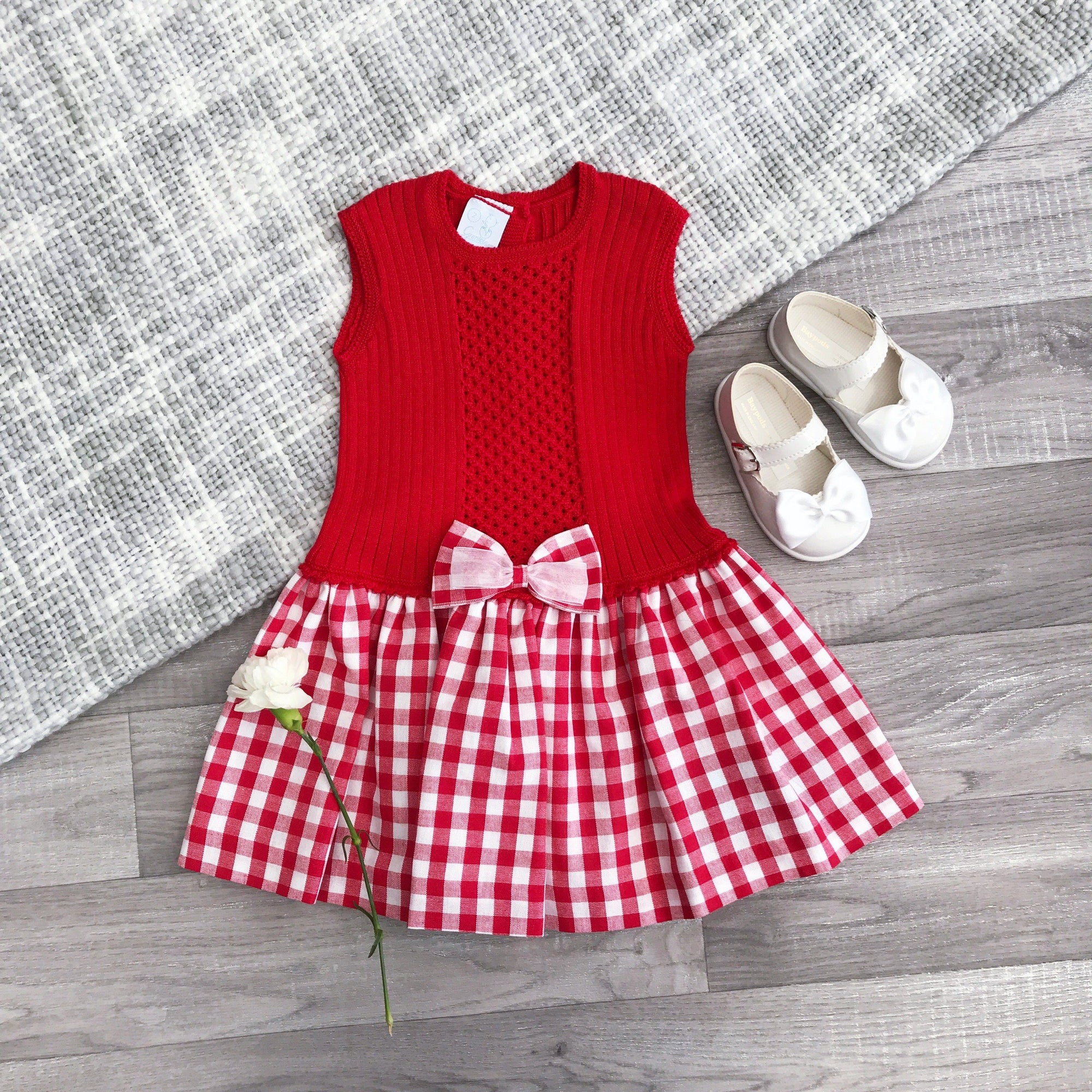 Granlei Red Half Knit Gingham Dress | Millie and John