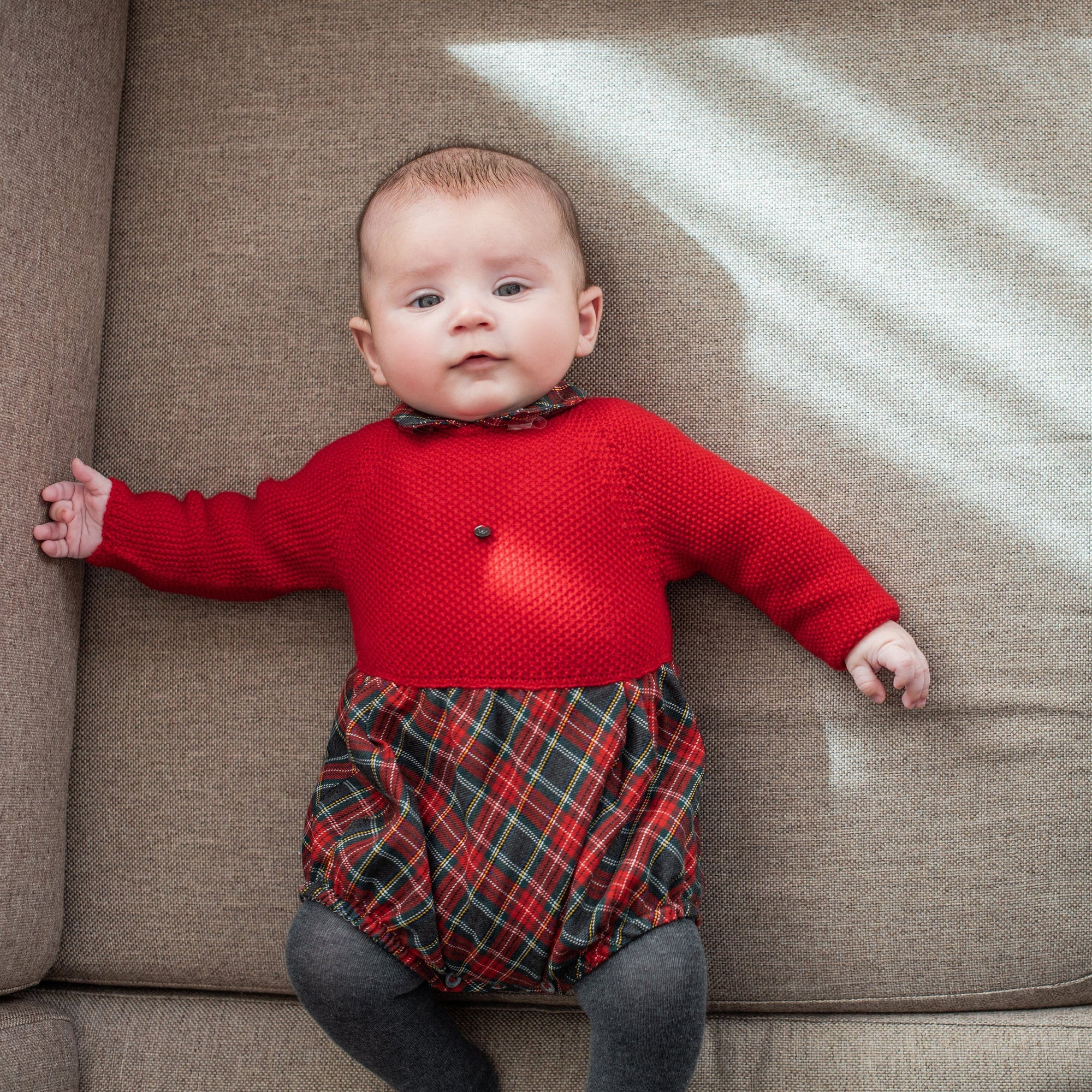 Wedoble Red Half Knit Tartan Romper | Millie and John