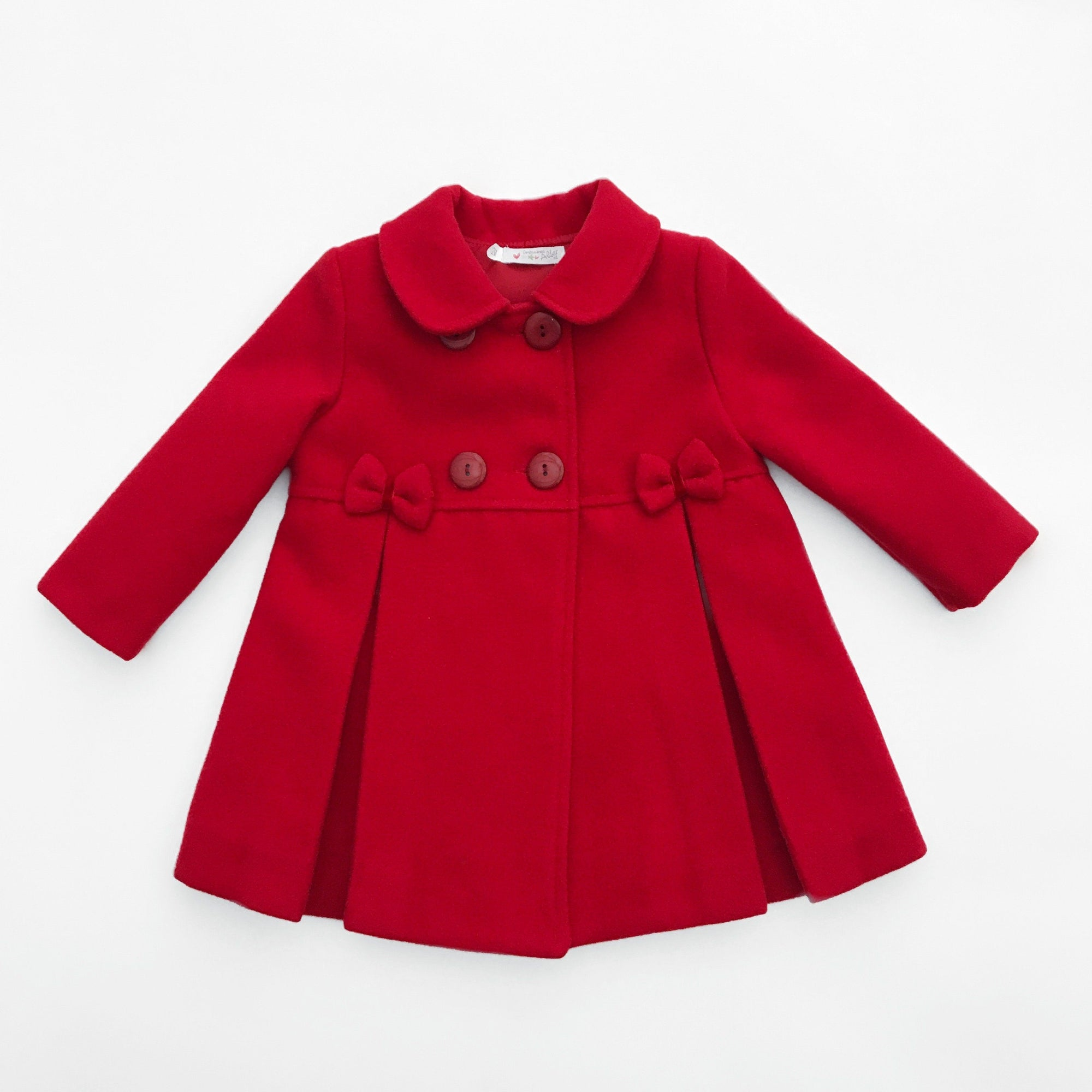 Alber Red Inverted Pleat Bow Detail Coat | Millie and John