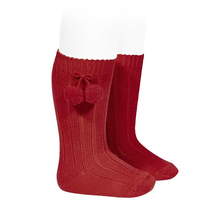 Condor Red Knee High Pom Pom Socks | Millie and John