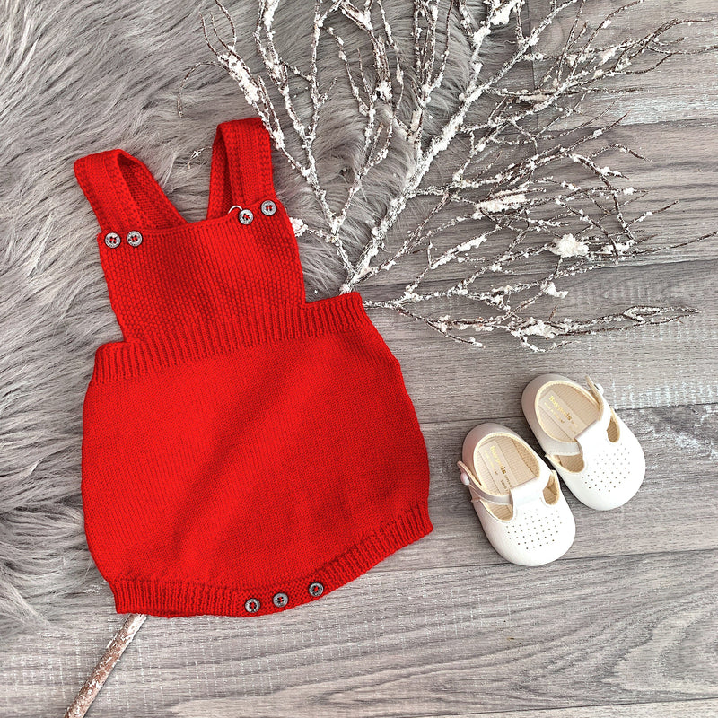 Wedoble Red Knitted Dungaree Romper | Millie and John