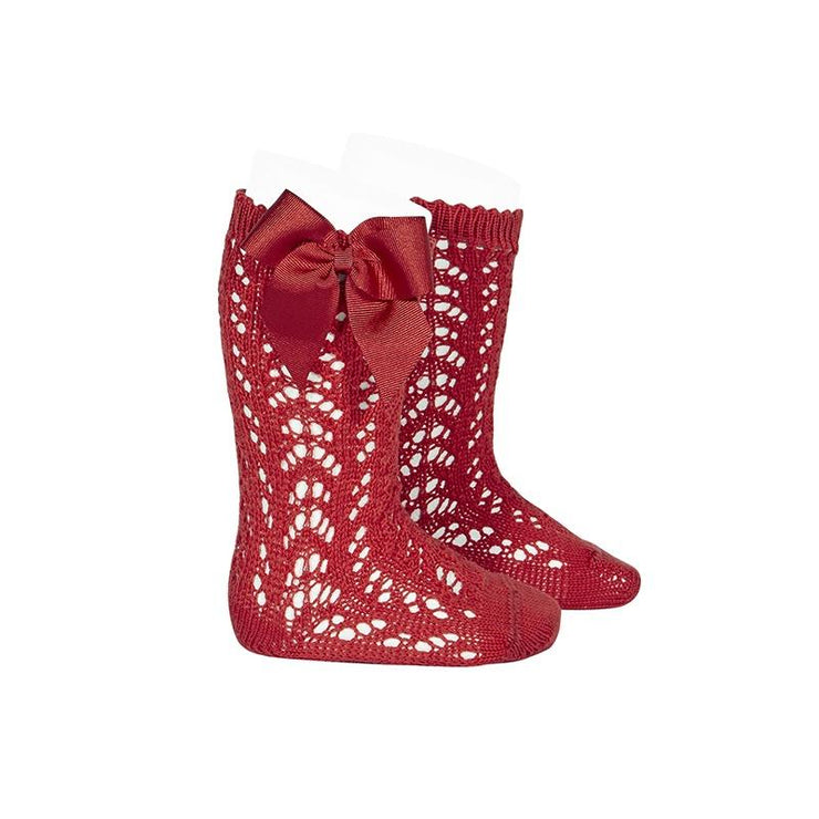Condor Red Lace Openwork Bow Socks | Millie and John
