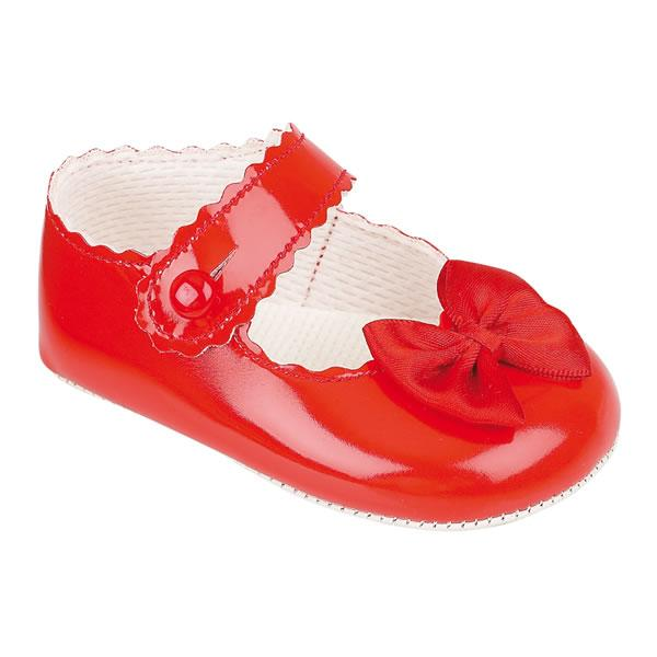 Baypods Red Patent Bow Soft Sole Shoes | Millie and John