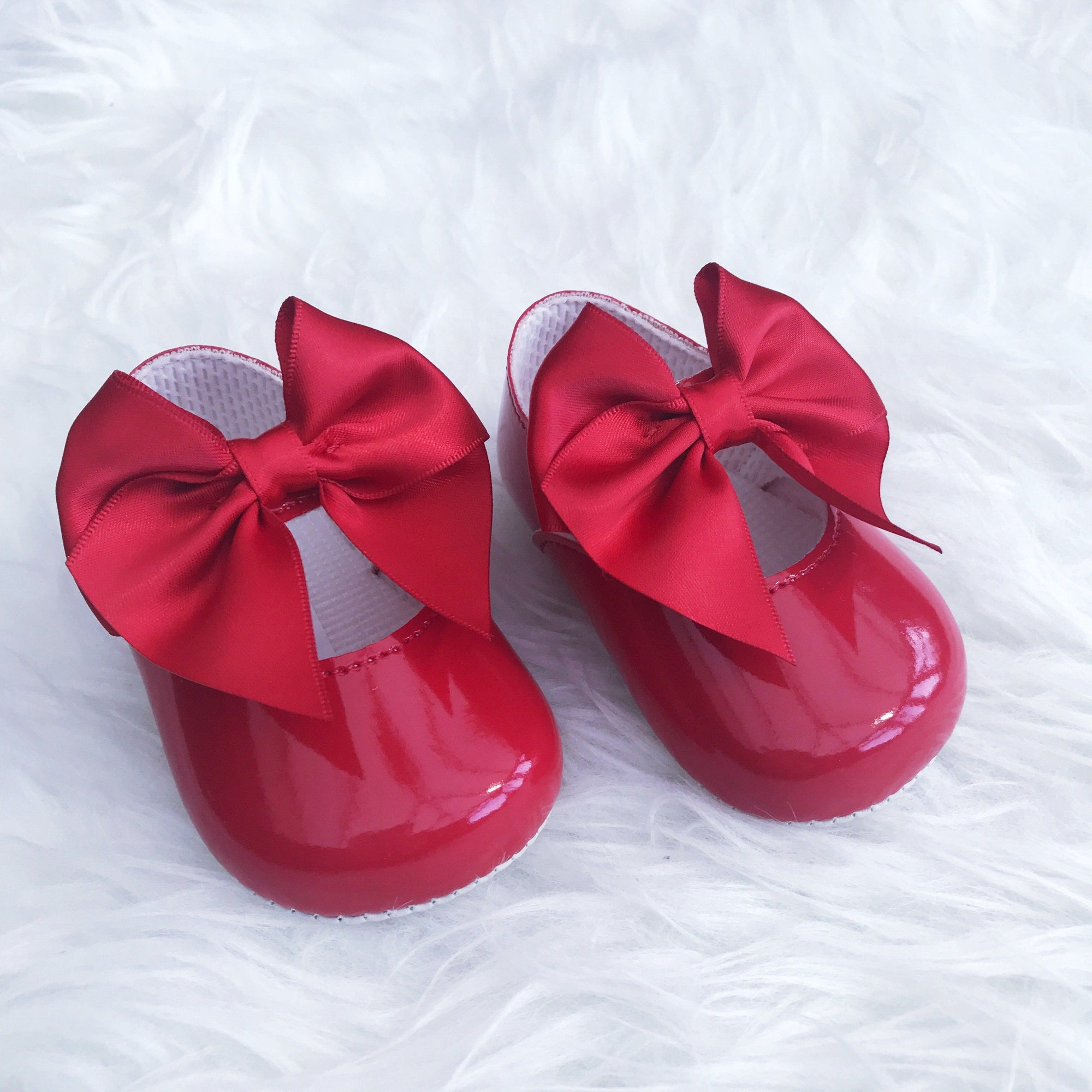 Baypods Red Patent Large Bow Soft Sole Shoes | Millie and John