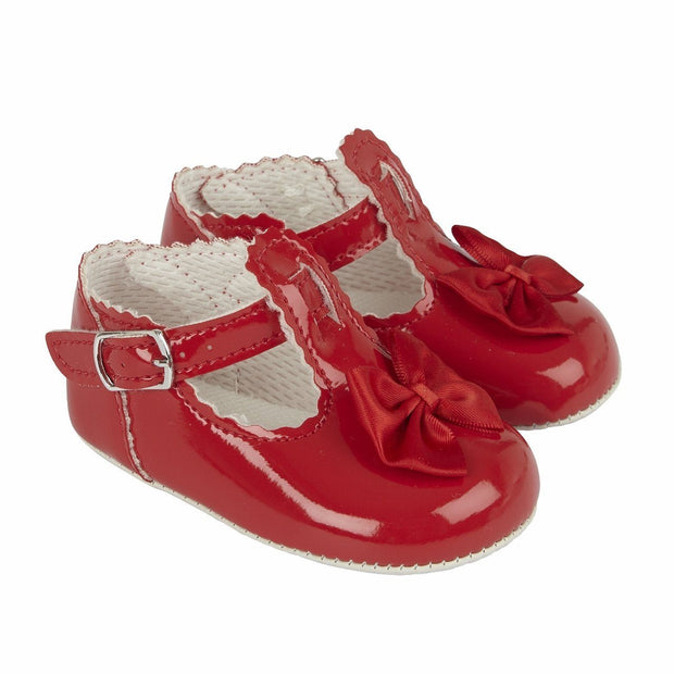 Baypods Red Patent T-Bar Bow Soft Sole Shoes | Millie and John