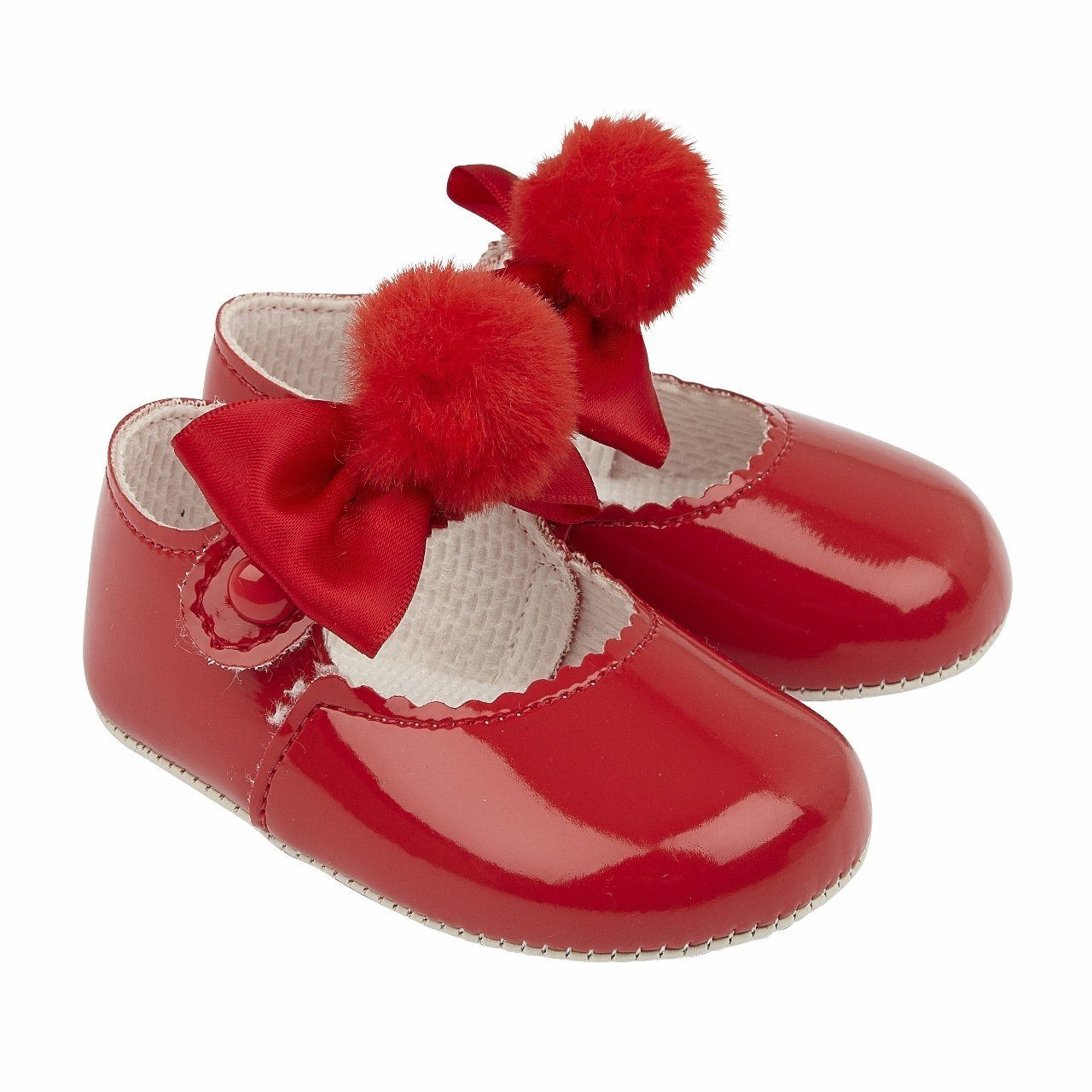 Red Pom Pom Soft Sole Shoes