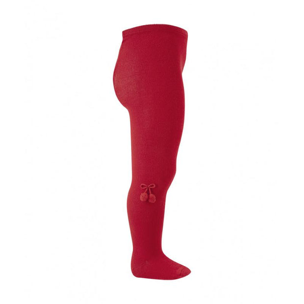 Condor Red Pom Pom Tights | Millie and John