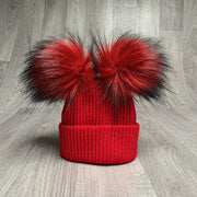 Millie and John Red Ribbed Double Pom Pom Hat | Millie and John