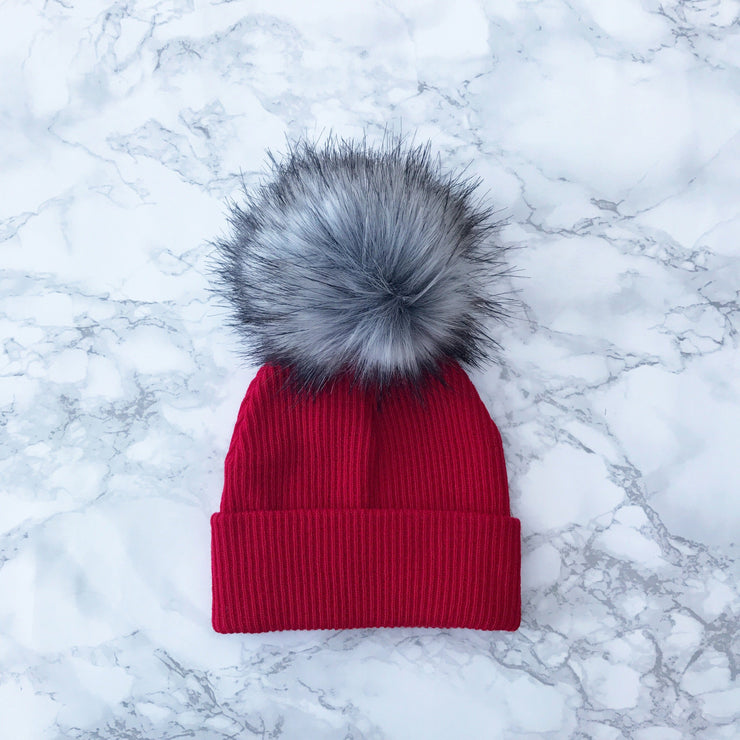 Millie and John Red Ribbed Faux Fur Pom Pom Hat | Millie and John