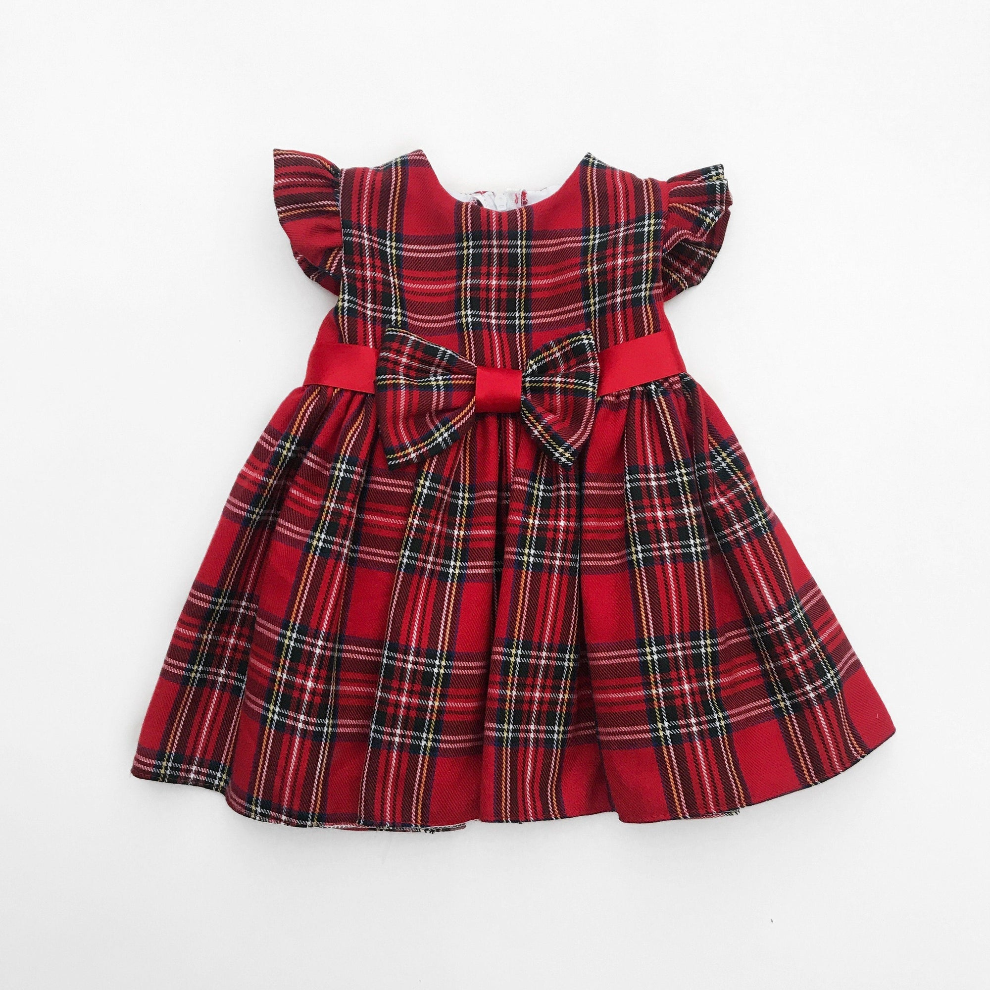 Kinder Red Tartan Bow Dress | Millie and John