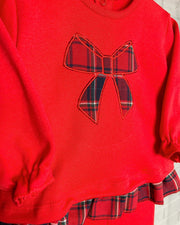 Rapife Red Tartan Bow Top & Leggings | Millie and John