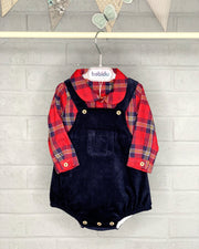 Babidu Red Tartan Cord Dungaree Set | Millie and John