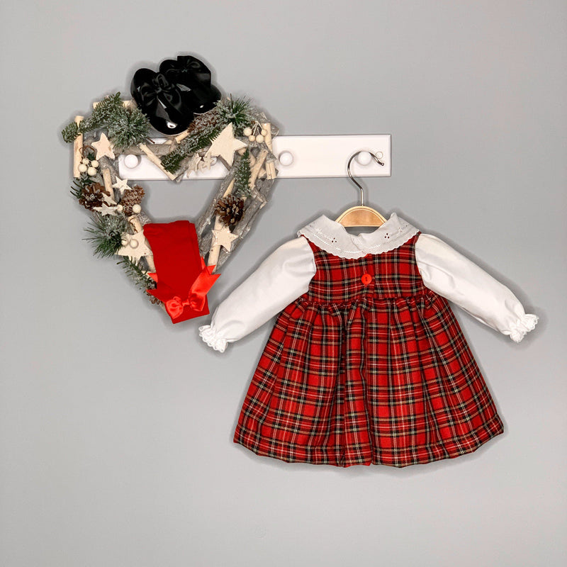 Kinder Boutique Red Tartan Pinafore Dress & Blouse | Millie and John
