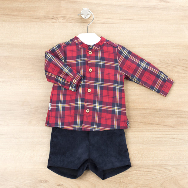 Babidu Red Tartan Shirt & Shorts | Millie and John