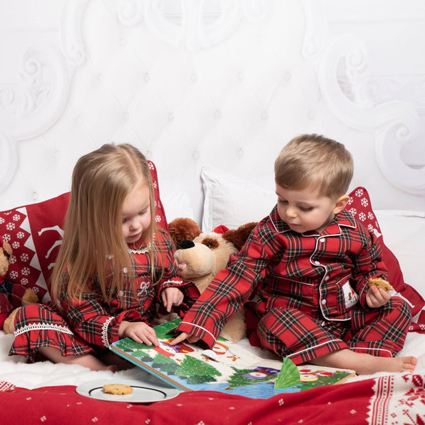 Caramelo Kids Red Tartan Smocked Pyjamas | Millie and John