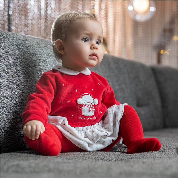 Tutto Piccolo Red Velour Dress & Tights | Millie and John