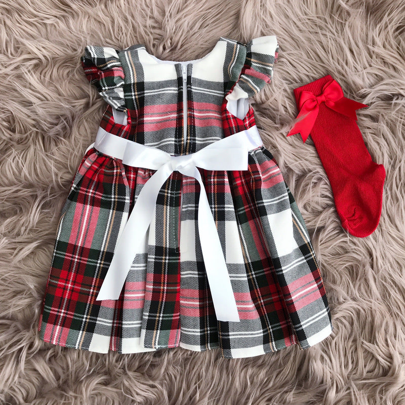 Kinder Red & White Tartan Bow Dress | Millie and John