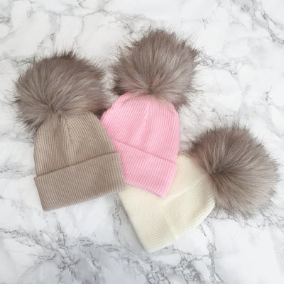 Millie and John Ribbed Brown Faux Fur Pom Pom Hat | Millie and John