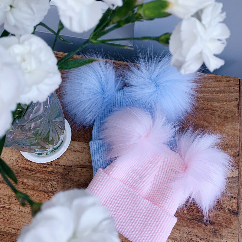 Millie and John Ribbed Double Faux Fur Pom Pom Hat | Millie and John