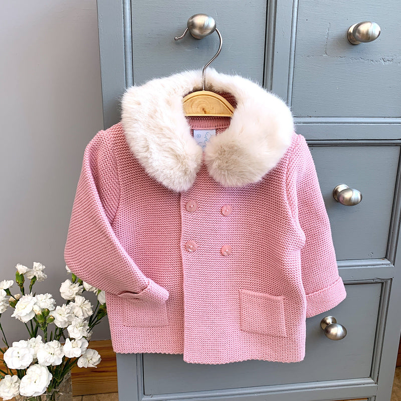 Granlei Rose Pink Jacket with Faux Fur Collar | Millie and John