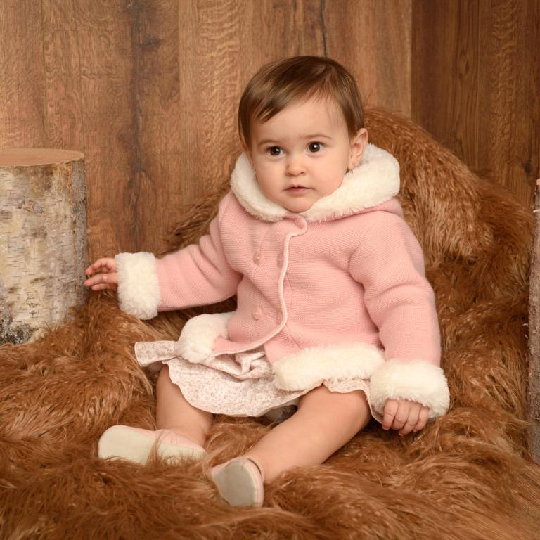Granlei Rose Pink Knitted Faux Fur Hooded Jacket | Millie and John