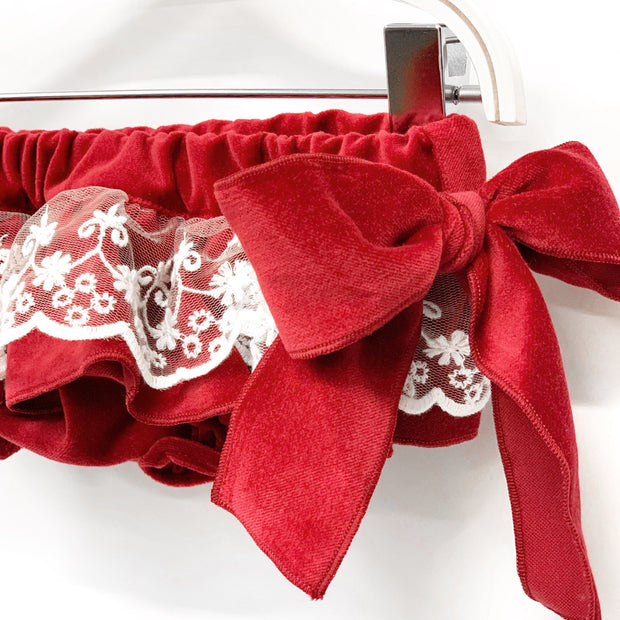 Phi Ruby Red Lace Velvet Bloomers | Millie and John