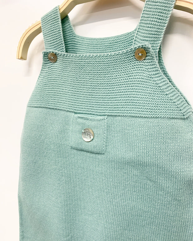 Granlei Sage Green Knitted Dungarees | Millie and John
