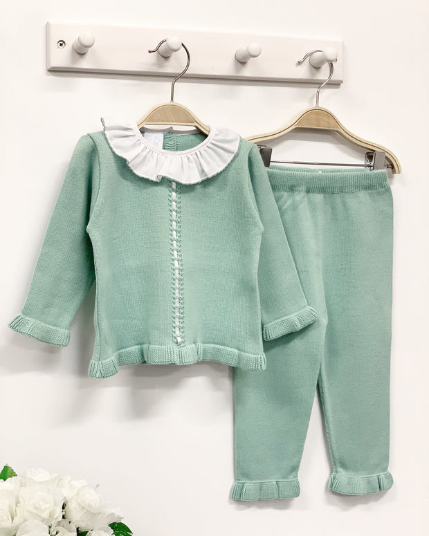 Granlei Sage Green Ribbon Detail Knit Tracksuit | Millie and John