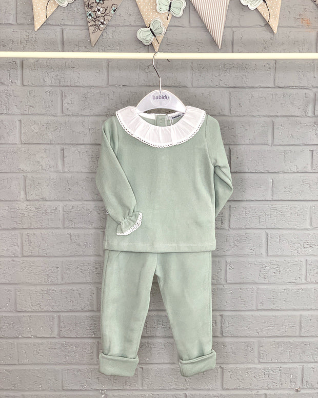 Babidu Sage Green Ruffle Collar Knit Tracksuit | Millie and John
