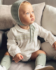 Babidu Sage Green Smocked Star Print Romper | Millie and John