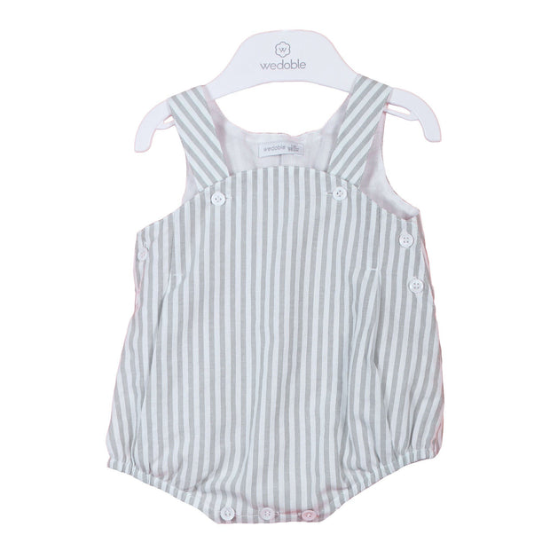 Wedoble Sage Green Striped Dungaree Romper | Millie and John