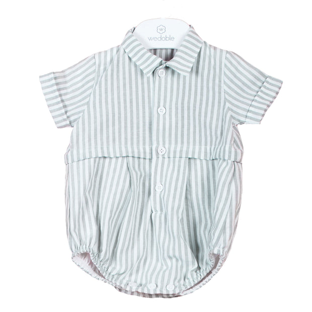 Wedoble Sage Green Striped Romper | Millie and John