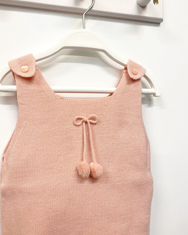 Granlei Salmon Pink Knitted Pom Pom Dungarees | Millie and John