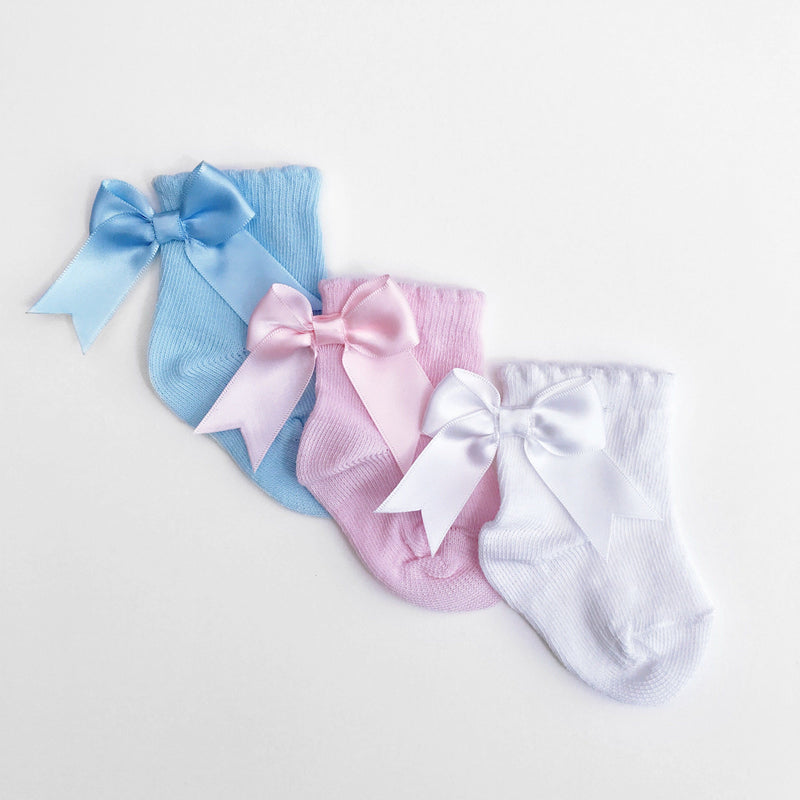 Kinder Satin Bow Ankle Socks | Millie and John